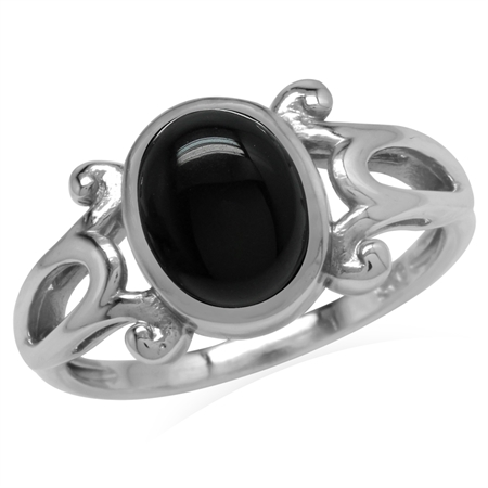 Genuine Black Onyx 925 Sterling Silver Victorian Inspired Casual Ring