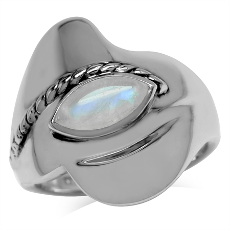 Natural Marquise Moonstone 925 Sterling Silver Rope Fashion Free Form Casual Ring