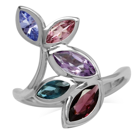 Amethyst, Rhodolite Garnet, London Blue Topaz, Tanzanite & Tourmaline 925 Sterling Silver Leaf Ring