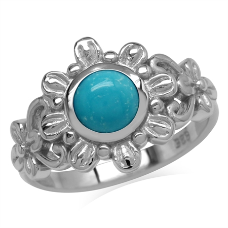 6MM Genuine Round Shape Arizona Turquoise 925 Sterling Silver Flower Solitaire Ring
