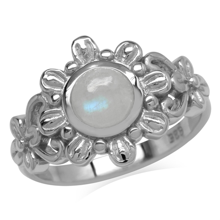 6MM Natural Round Shape Moonstone 925 Sterling Silver Flower Solitaire Ring