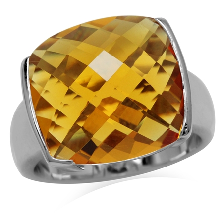 Yellow CZ Sterling Silver Ring