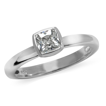 Cushion Cut White CZ 925 Sterling Silver Stack/Stackable Solitaire Ring