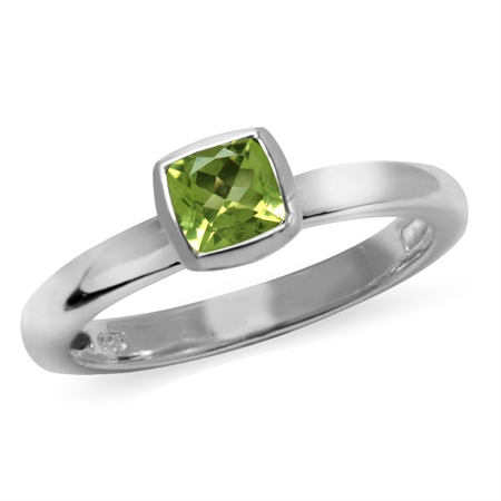 Cushion Cut Natural Peridot 925 Sterling Silver Stack/Stackable Solitaire Ring