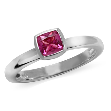 Cushion Cut Simulated Pink Tourmaline 925 Sterling Silver Stack/Stackable Solitaire Ring