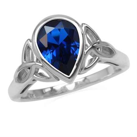 Synthetic Blue Sapphire 925 Sterling Silver Triquetra Celtic Knot Ring
