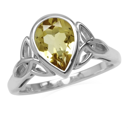 Genuine 1.6 CT 10x7MM Citrine 925 Sterling Silver Triquetra Celtic Knot Ring