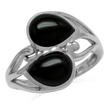 Natural 9x7 MM Black Onyx 925 Sterling Silver Contemporary Swirl Ring
