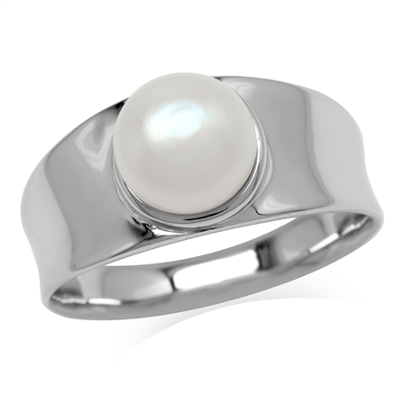 8MM White Cultured Freshwater Pearl 925 Sterling Silver Band Ring