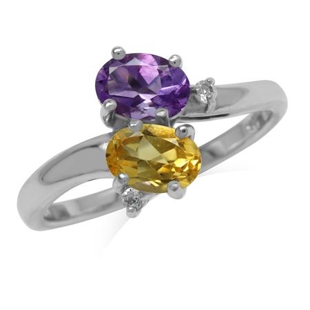 Genuine Amethyst and Citrine 925 Sterling Silver Gemstone Ring