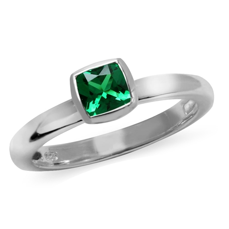 5MM Cushion Shape Nano Emerald 925 Sterling Silver Stack/Stackable Solitaire Ring