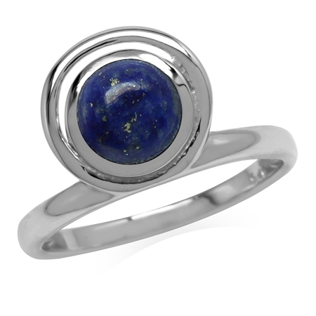 Natural Blue Lapis Lazuli Stone 925 Sterling Silver Geometric Circle Ring