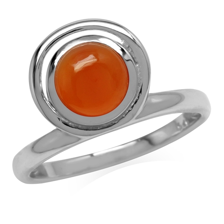Genuine Carnelian 925 Sterling Silver Geometric Circle Ring