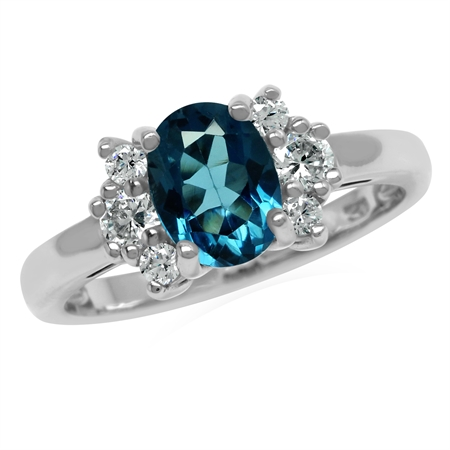 Genuine Oval 8x6 mm 1.5 Ctw London Blue Topaz 925 Sterling Silver Engagement Ring