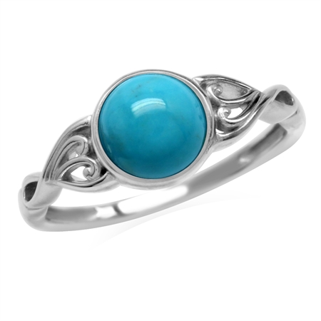 7mm Genuine Arizona Turquoise 925 Sterling Silver Victorian Style Solitaire Ring