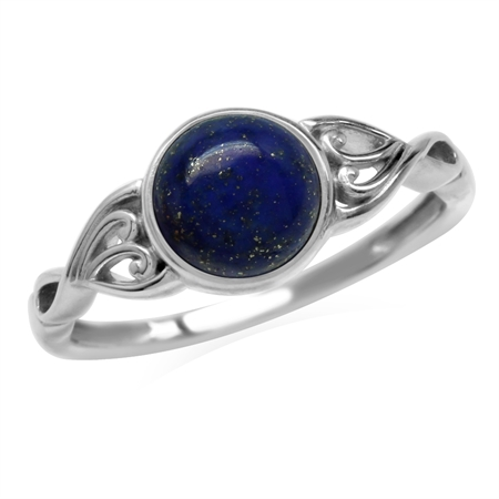 7mm Natural Lapis Lazuli 925 Sterling Silver Victorian Style Solitaire Ring