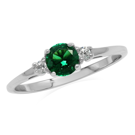 Petite Green Nano Emerald & White CZ 925 Sterling Silver Promise Ring