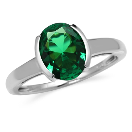 2.1 ct 10x8MM Green Nano Emerald White Gold Plated 925 Sterling Silver Solitaire Ring