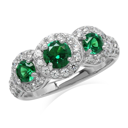 Created 3-Stone Green Nano Emerald White Gold Plated 925 Sterling Silver Ring