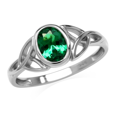 Nano Green Emerald 925 Sterling Silver Triquetra Celtic Knot Ring