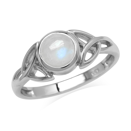 Natural 6 mm Round Rainbow Moonstone 925 Sterling Silver Triquetra Celtic Knot Ring