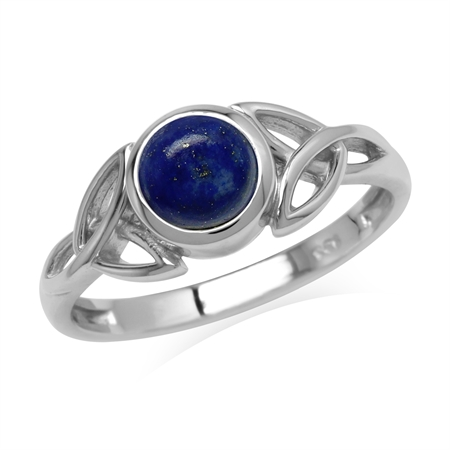 Natural 6 mm Round Blue Lapis Lazuli Stone 925 Sterling Silver Triquetra Celtic Knot Ring
