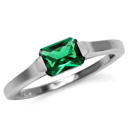 7x5 mm Octagon Shape Nano Green Emerald White Gold Plated 925 Sterling Silver Solitaire Ring