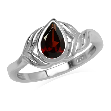 Natural Red Garnet Stone 925 Sterling Silver Leaf Ring