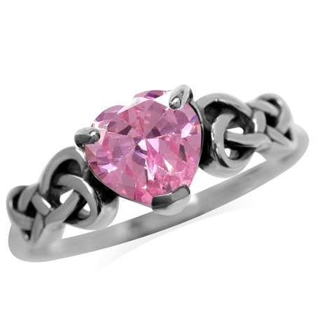 7 mm 2.3 Ct Heart Shape Pink CZ 925 Sterling Silver Celtic Knot Ring