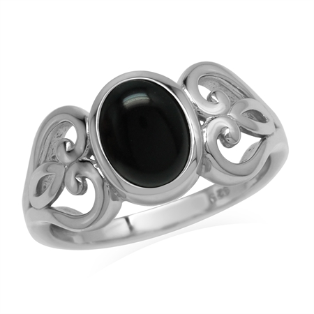 Natural Black Onyx Stone 925 Sterling Silver Victorian Heart Ring