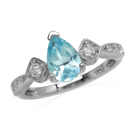 Glamorous 1.5 Ct Genuine Sky Blue Topaz And White CZ  Gem 925 Sterling Silver Engagement Ring