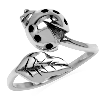 Girls Petite Cute Ladybug Ladybird Leaf 925 Sterling Silver Scarab Beetle Animal Open Wrap Ring