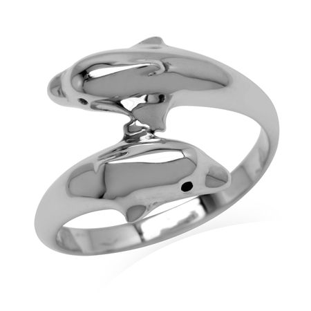 925 Sterling Silver Twin Dolphin Bypass Fashion Ring