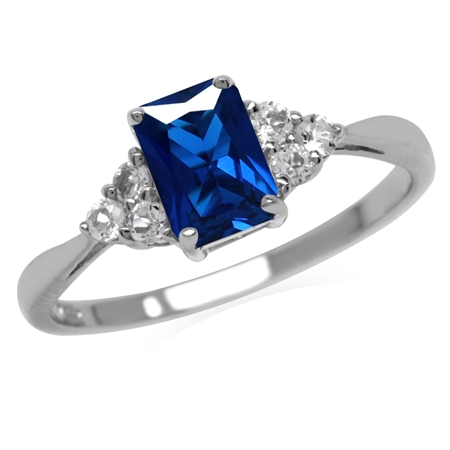 Created Blue Sapphire Octagon 7x5 mm 925 Sterling Silver Engagement Ring