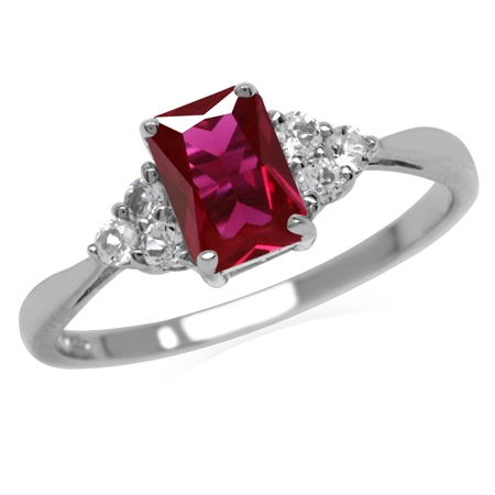 Created Red Ruby Octagon 7x5 mm 925 Sterling Silver Engagement Ring