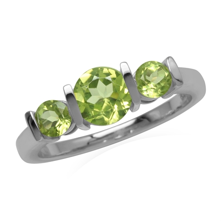 Natural 3-Stone Green Peridot 925 Sterling Silver Enngagement Ring