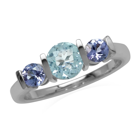 Genuine Sky Blue Topaz and Tanzanite 925 Sterling Silver 3-Stone Enngagement Ring