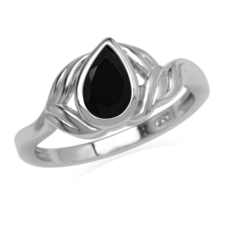 Natural Pear Shape 8x5 mm Black Onyx Stone 925 Sterling Silver Leaf Ring