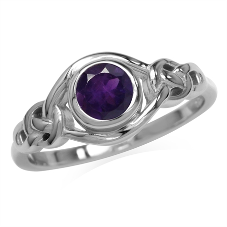 Genuine African Amethyst White Gold Plated 925 Sterling Silver Celtic Knot Ring