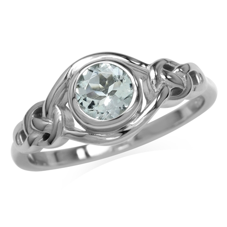Genuine Light Blue Aquamarine White Gold Plated 925 Sterling Silver Celtic Knot Ring