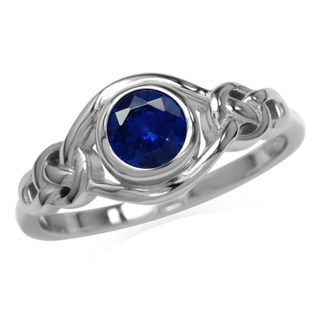 Created Blue Sapphire White Gold Plated 925 Sterling Silver Celtic Knot Ring