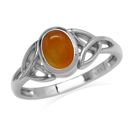 Genuine Orange Carnelian Stone 925 Sterling Silver Triquetra Celtic Knot Ring