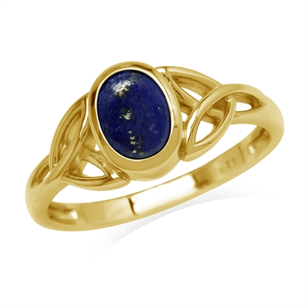 Natural Blue Lapis Lazuli Stone Yellow Gold Plated 925 Sterling Silver Triquetra Celtic Knot Ring