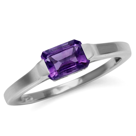 Genuine Dark Purple Octagon African Amethyst Solitaire Gemstone Ring