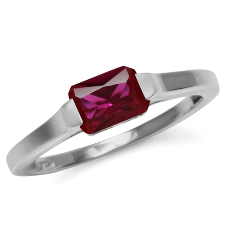 Created Octagon Red Ruby July Birthstone 925 Sterling Silver Solitaire Gemstone Ring