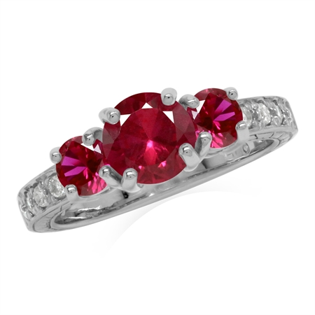 Created Red Ruby 925 Sterling Silver 3-Stone Anniversary Engagement Ring