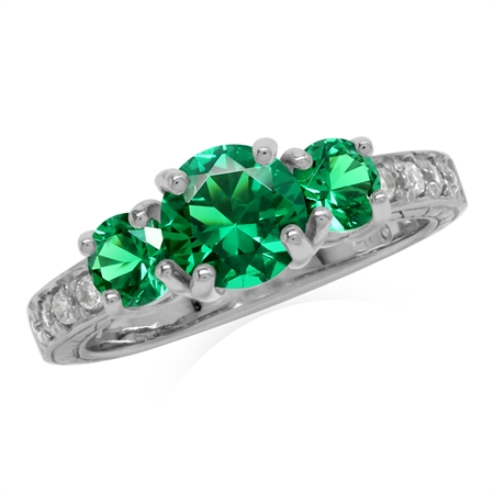 Created Green Emerald 925 Sterling Silver 3-Stone Anniversary Engagement Ring