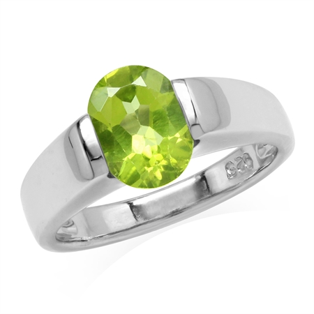 2 Ct 9X7mm Natural Green Peridot 925 Sterling Silver Classic Solitaire Gemstone Ring