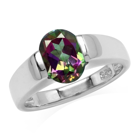 2 Ct Mystic Rainbow Fire Topaz 925 Sterling Silver Classic Solitaire Gemstone Engagement Ring