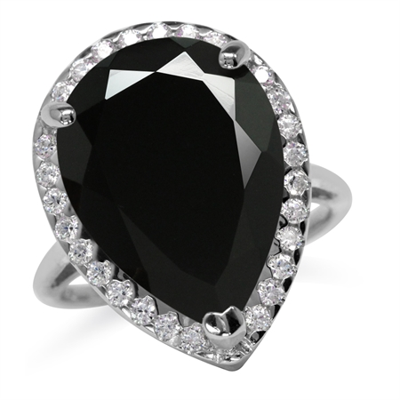 HUGE 18x13MM Pear Shape Natural Black Onyx 925 Sterling Silver Cocktail Right Hand Ring
